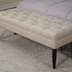 None - Claudia Diamond Secret Natural Tufted Bench - Spruce up your space with this Claudia tufted bench,with a handcrafted polyester upholstered diamond-tufted top and espresso legs. The bench looks beautiful at the foot of a bed or nestled into an entryway.
