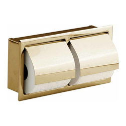Renovators Supply - Toilet Paper Holder Brass PVD S/S Recessed Toilet Paper Holder - Double Recessed Toilet Paper Holder, discrete and practical. Makes your bathroom that much bigger. Gives your bathroom that sleek modern design for less!