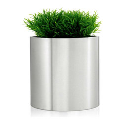 Blomus - GREENS Round Planters, Extra Large - Keep the office and home looking clean and green with the Blomus GREENS Round Planter. Made of stainless steel with a flexible plastic liner. Plants have never looked this modern, sleek and smart.