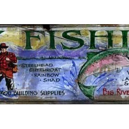 """Red Horse Signs - Vintage Signs, Fly Fishing Large Rustic Wood Sign, 14x42 - Vintage  Signs    Nostalgic  Fly  Fishing  Advertisement  Wood  Signs  (40x14"""")                Vintage  signs  add  a  unique  flavor  to  the  decor  of   your  cabin  or  lodge.  This  rustic  fly-fishing  sign  is  painted  directly  onto  a  distressed  wood  panel,  giving  it  the  look  and  feel  of  an  authentic  vintage  advertisement.  The  illustration  on  this  sign  features  a  trout  and  fly  fisherman  with  a  deep  blue  lake  and  mountains  in  the  background.  Hand-lettered  text  gives  the  sign  an  antique  look  and  includes  phrases  like,  """"Fly  Fishing,  Fly-ins…Raft-out  Trips.  Artisan  Tied  Flies  and  Rod  Building  Supplies.""""            These  vintage  fly  fishing  signs  measure  42  inches  wide  and  14  inches  high.  This  one  will  look  great  hanging  above  your  collection  of  antique  fly  rods,  or  you  can  simply  use  it  in  a  family  room  or  cabin  living  area  to  add  a  splash  of  color.  A  distressed  wood  sign  also  makes  a  great  addition  to  a  rustic-themed  bathroom.            Antique-look  wood  signs  make  great  gifts  and  if  you're  lucky  enough  to  have  a  father  or  a  grandfather  who  loves  the  sport  of  fly  fishing,  this  will  be  a  piece  of  rustic  decor  that  will  inspire  lots  of   great  memories  of  the  river,  the  flash  of  the  line  in  the  sunlight,  and  a  hot  trout  supper  cooked  over  a  campfire.          Sign  measures  40x14            Please  Note:  Our  Vintage  signs  are  made-to-order.  Please  allow  2-3  weeks  for  delivery."""