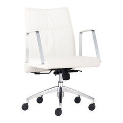 Zuo Modern - Dean Low Back Chair, White - Dean Low Back Chair