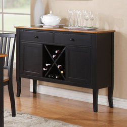 """Steve Silver Furniture - Steve Silver Candice Server w/ Wine Storage in Black & Oak - The Candice Collection offers country-style simplicity  transforming any dining area into a charming sanctuary.  The black and oak Candice server has two spacious drawers for storing linens and tableware  two cabinets  wine storage  and a 48""""L x 17""""D s& Bath/Quilts & Coverlets#Bed & Bath/Mattress Pads and CoversBed & Bath/PillowsBed & Ba"""