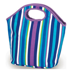 """Picnic Plus - Zesty Lunch Bag, Lavender Stripe - Picnic Plus Zesty Insulated Lunch Bag, Lavender Stripe. Color/Design: Lavender Stripe; Fully insulated tote with an easy to clean leak proof liner; Zippered top closure helps to maintain food and beverage temperatures for many hours; Hidden pocket makes monogramming simple without damaging the lunch bag; Be eco conscious by using our Zesty Lunch bag for work or school. Dimensions: 12""""W x 4 1/2""""D x 12""""H"""