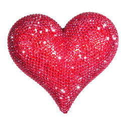 Interior Illusions - Heart Decor, Red - Add a pop of bright red to your space with this sweet ceramic heart. Encrusted with red rhinestones, this handmade piece is a perfect addition to your tabletop decor. Set it on your coffee table or desk for a bold, sparkling look. Slight variations may occur.