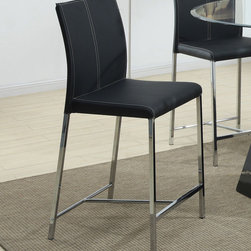 "Coaster - 103737 Counter Height Stool - Black, Set of 4 - 103737 Counter Height Stool - Black, Set of 4; Vinyl Cushion Seating; Contemporary Style; Seat Height: 24""; Seat Depth: 16.25""; Dimensions: 20.50""L x 18.50""W x 40.00""H"