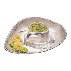 Arthur Court - Cowboy Hat Chip & Dip Tray - Hold onto your hats, cowboys — this chip and dip tray has some serious western flare. When you're prepping for the best fiesta this side of El Paso, there's no better way to serve up your appetizers than in this jaunty silver hat-shaped tray. Just fill the crown with your favorite dip and add chips to the brim.