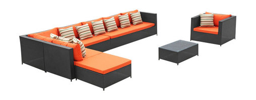 Fine Mod Imports - Garden Outdoor Sectional Set with Orange Cushions - Features: