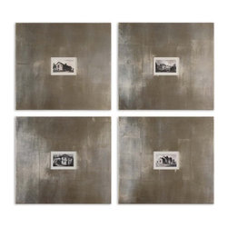 "Uttermost - Uttermost Historical Buildings 23x21 Framed Wall Art I, II, III, IV (Set of 4) - This artwork features 8"" wide frames with a champagne silver leaf base and light brown glaze."