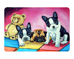 Caroline's Treasures - Multiple Breeds Kitchen Or Bath Mat 24X36 - Kitchen or Bath COMFORT FLOOR MAT This mat is 24 inch by 36 inch.  Comfort Mat / Carpet / Rug that is Made and Printed in the USA. A foam cushion is attached to the bottom of the mat for comfort when standing. The mat has been permenantly dyed for moderate traffic. Durable and fade resistant. The back of the mat is rubber backed to keep the mat from slipping on a smooth floor. Use pressure and water from garden hose or power washer to clean the mat.  Vacuuming only with the hard wood floor setting, as to not pull up the knap of the felt.   Avoid soap or cleaner that produces suds when cleaning.  It will be difficult to get the suds out of the mat.