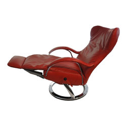 Lafer Diva Recliner - Contemporary Lounge Reclining Chair. Ergonomic Swivel Leather Recliner with Chrome Base.