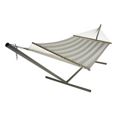 """Pawleys Island - Large Quilted Fabric Hammock - Decade Sand - Two ample sheets of compellingly designed all-weather fabric quilted over a plush layer of pillowy polyester fiberfill batting, promising lavish reclining in soft-to-skin comfort.  Hammock stand and pillow sold separately.  Total length 13', bed size 55x82""""."""