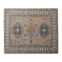 1800-Get-A-Rug - Beige High Quality Kazak Hand Knotted 100% Wool Oriental Rug Sh15309 - Our Tribal & Geometric Collection consists of classic rugs woven with geometric patterns based on traditional tribal motifs. You will find Kazak rugs and flat-woven Kilims with centuries-old classic Turkish, Persian, Caucasian and Armenian patterns. The collection also includes the antique, finely-woven Serapi Heriz, the Mamluk Afghan, and the traditional village Persian rug.