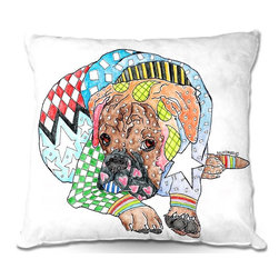 DiaNoche Designs - Pillow Woven Poplin from DiaNoche Designs by Marley Ungaro - Boxer Dog - Toss this decorative pillow on any bed, sofa or chair, and add personality to your chic and stylish decor. Lay your head against your new art and relax! Made of woven Poly-Poplin.  Includes a cushy supportive pillow insert, zipped inside. Dye Sublimation printing adheres the ink to the material for long life and durability. Double Sided Print, Machine Washable, Product may vary slightly from image.