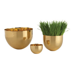 Kathy Kuo Home - Stockholm Irregular Edge Modern Polished Brass Bowls- Set of three - Three is a magic number, and this trio of warm brass bowls certainly have their own elegant charisma.  Whether used separately or as a group, the utility and sophistication they present will be a welcome addition to any modern space.