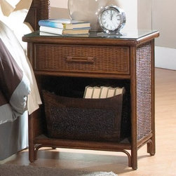 "Hospitality Rattan Padre Island One Drawer Nightstand - Antique - Classic and elegant, the Hospitality Rattan Padre Island One Drawer Nightstand - Antique adds warmth and beauty to any room. gorgeously designed to add a touch of classic elegance to your bedroom. Designed with one drawer and an open area underneath, you'll have plenty of room for your books, alarm clock, and other necessities. With metal glides on the drawers for easy maneuvering, you'll love the ease and simplicity inherent in this nightstand. Its gorgeous antique finish brings sophistication to your room and easily complements any decor. Arriving at your door fully assembled, this quality nightstand is made to last.About Hospitality Rattan Hospitality Rattan has been a leading manufacturer and distributor of contract quality rattan, wicker, and bamboo furnishings since 2000. The company's product lines have become dominant in the Casual Rattan, Wicker, and Outdoor Markets because of their quality construction, variety, and attractive design. Designed for buyers who appreciate upscale furniture with a tropical feel, Hospitality Rattan offers a range of indoor and outdoor collections featuring all-aluminum frames woven with Viro or Rehau synthetic wicker fiber that will not fade or crack when subjected to the elements. Hospitality Rattan furniture is manufactured to hospitality specifications and quality standards, which exceed the standards for residential use. Hospitality Rattan's Environmental Commitment Hospitality Rattan is continually looking for ways to limit their impact on the environment and is always trying to use the most environmentally friendly manufacturing techniques and materials possible. The company manufactures the highest quality furniture following sound and responsible environmental policies, with minimal impact on natural resources. Hospitality Rattan is also committed to achieving environmental best practices throughout its activity whenever this is practical and takes responsibility for the development and implementation of environmental best practices throughout all operations. Hospitality Rattan maintains a policy of continuous environmental improvement and therefore is a continuing work in progress. Hospitality Rattan's Environmentally Friendly Manufacturing Process All of Hospitality Rattan products are green. From its basic raw materials of rattan poles, peels, leather, bamboo, abaca, lampacanay, wood, leather strips, and boards, down to other materials like nails, staples, water-based adhesives, finishes, stains, glazes and packing materials, all have minimum impact to the environment and are safe, biodegradable, recycled, and mostly recyclable. Aside from this, the products have undergone an environmentally-friendly process that makes them """"greener."""" The company's rattan components are sourced from sustained-yield managed forests, which means the methods used to grow and harvest the rattan vines ensure the long-term life of the forest and protect the biodiversity of the forest's ecosystems. Hospitality Rattan is committed to buying and using all materials, from rattan and hardwood to finishing materials, from reputable and renewable suppliers and seeks appropriate evidence that suppliers are in compliance with this policy. Hospitality Rattan strives to use materials that are processed in an environmentally responsible manner, or consist of a high level of recycled material. Finishing materials and stains used in Hospitality Rattan's furniture products consist of 75% water-based solutions which evaporate upon application with reduced or Volatile Organic Compounds (VOCs). The furniture factories use water-based glues, stains, topcoats and other finishes on all of their products. The switch from traditional solvent-based processes to water-based processes involved consolidating several processes by the factories, resulting in an 85% reduction in VOC emissions."