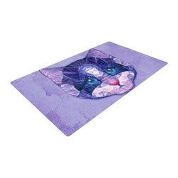 """Kess InHouse - Ancello """"Cute Kitten"""" Purple Cat Woven Area Rug (48"""" x 72"""") - Splash your floors with artwork! That's right, I said your floors. With these woven polyester jacquard area rugs adding a splash or pop of artwork is a breeze. Use it in just about any room, even the bathroom! These woven area rugs will leave all of your guests envious as they walk through your artistic home!"""