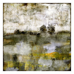 """Distant Meadow, Painting - Distant Meadow is a tranquil but colorful piece.  Shades of yellow, green and white create layers of depth and detail.  The canvas is supported with a solid wood stretcher frame that is 1 3/4"""" deep.  Edges are gallery wrapped with a continuous giclee printed edge so no framing is required."""