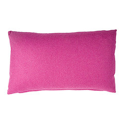 Designer Fluff - Pink Canyon Pillow, 15x25 - Live la vie en rose. This bright pink pillow is made from soft wool and nylon in a subtle speckle pattern. Each pillow has a hidden zipper closure and comes in your choice of sizes, inserts and edges to tickle you pink.