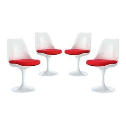 """LexMod - Lippa Dining Side Chair Set of 4 in Red - Lippa Dining Side Chair Set of 4 in Red - The Lippa Side Chair adds the perfect modern classic touch to any dinning space. Sturdy, easy to clean and lovely to behold, these chairs elevate a meal to whole new levels of enjoyment. Available in an array of colors, the Lippa Chair makes it easy to express your individual style. Set Includes: Four - Lippa Side Chair ABS Plastic Seat, Aluminum Base, Cloth Cushions Overall Product Dimensions: 21""""L x 20""""W x 32.2""""H Seat Height: 19""""H - Mid Century Modern Furniture."""