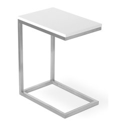 Gus Modern - Bishop Table, White - The Bishop Table is designed to nest with sofas, sectionals and ottomans, providing a stylish and convenient surface for drinks, magazines, and electronic devices. Available in several different finishes, all with a stainless steel base.