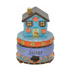 "WL - 2.25 Inch ""Sister"" with Blue House and Flowers Ceramic Figurine - This gorgeous 2.25 Inch ""Sister"" with Blue House and Flowers Ceramic Figurine has the finest details and highest quality you will find anywhere! 2.25 Inch ""Sister"" with Blue House and Flowers Ceramic Figurine is truly remarkable."