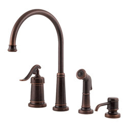 Price Pfister - Pfister GT26-4YPU Ashfield Kitchen Faucet With Spray - Price Pfister GT26-4YPU is an Ashfield Series Single control 4-hole kitchen faucet with Matching decorative Side Spray and Soap Dispenser.