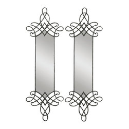 Uttermost - Uttermost Celestia Forged Metal Mirror - Celestia Forged Metal Mirror by Uttermost Decorative, Hand Forged Metal Finished In A Heavy Olive Gray Wash With Silver Undertones. May Be Hung Horizontal Or Vertical. Two Sets Shown.