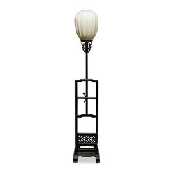 China Furniture and Arts - Elmwood Imperial Lantern - Once only seen in the Forbidden City in Beijing China, the imperial lamp is now available for the public. Displayed on a wooden stand with hand-carved decorative designs, the Chinese beige silk lamp gives out a mellow shimmering light that provide you with a unique artistic experience. Adjustable height. 40-watt max (bulb not included)