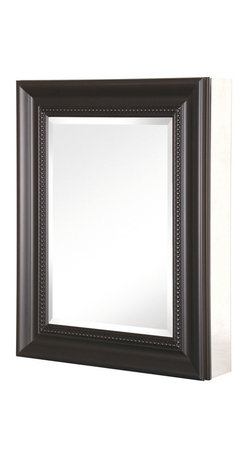 Pegasus - Deco Framed Medicine Cabinet w Glass Shelves - Color: EspressoManufacturer SKU: SP4609. Includes side mirror and hanging kit. Adjustable glass shelves. Rust-free aluminum case with frame. Self-closing hinges open upto 110 degrees. Recess or surface mount. 20 in. W x 5.5 in. D x 26 in. H (29.44 lbs.)