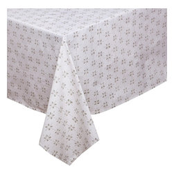 Mia + Finn - Mia + Finn Ash Grey Tablecloth - Casual enough for every day, but chic enough for more formal occasions, this beguiling tablecloth is fashioned from machine-washable cotton poplin. The buoyant pattern is block-printed by hand, resulting in subtle variations that are a hallmark of this age-old process.