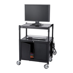 "Safco - Safco Steel Adjustable AV Cart with Cabinet in Black - Safco - TV Carts - 8943BL - Make AV mobility a valuable resource with this Steel Adjustable AV Cart. This all steel cart adjusts from 26"" to 42"" in 2 inch increments and holds up to 20"" monitors. Store all your media and other materials securely in the locking cabinet to ensure every piece of equipment is always ready when you need it. Six outlet UL approved mini-surge protector with power switch. Four swivel casters (2 locking)."