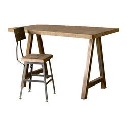 """Urban Wood Goods - Rustic Modern Architect Desk - Thick, 48"""" x 24"""" - Simplicity reclaimed. Salvaged wood from century-old buildings is meticulously sanded and reworked to create this elegant architect's desk. Of course, it'll also work beautifully as a kitchen or craft work table, as well as a chic dining table, if need be. It's simple; less extraneous design = more options."""