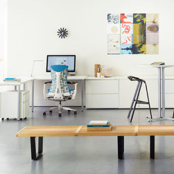 Herman Miller Embody Chair and Everywhere Table - Herman Miller Products Featured: Embody Chair, Nelson Platform Bench, Everywhere Table Rectangular, Stool_One, Everywhere Standing Height Table, Flute Personal Light