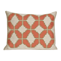 Kevin O'Brien Studio - Baroque Tile Linen Pillow, Coral - Hand embellished with silk and exquisite embroidery, our take on the opulent motifs and themes of Baroque and Rococo themes ; zip closure; comes with a feather/down insert