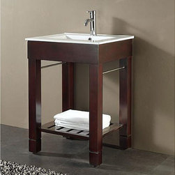 None - Avanity Loft 24-inch Single Vanity in Dark Walnut Finish with Sink and Top - Eurasia Vanity Set comes in a dark walnut finish over birch solid wood and veneersVitreous China top with integrated rectangular bowl single faucet hole cutoutBathroom vanitiy has adjustable height levelers