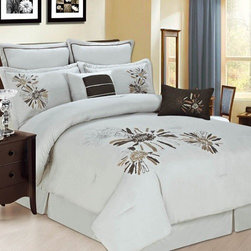 Bed In A Bag - 8pc Luxury Comforter Set- Park Avenue- Beige/ Chocolate/ Bronze - Turn your bedroom into a place of luxury with this Park Avenue comforter set. This set boasts a unique floral pattern in rich colors of chocolate, beige and bronze. Your bedroom has never looked so elegant. 100% Polyester, Machine Washable