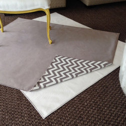 "Messy Marvin - Messy Marvin Wipeable Rug/Splat Mat, Ivory/Zigzag Pattern - "" Drop Zone"" by Messy Marvin. This is our 4′x5′ wipeable mat/small rug. Great for under a high chair or in front of the kitchen sink. Also perfect for that busy Mud Room door that gets all of the traffic and dirty feet. Also great for throwing down when kids are playing with crayons and markers! Available in French Gray and Ivory solids. Both reversible with Zigzag pattern on back."