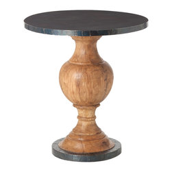 Kathy Kuo Home - Everett Wood Oxidized Iron Modern Round Pedestal End Table - Rustic materials and traditional lines come together beautifully in the turned wood and oxidized iron of this small round table.  A great addition to eclectic, traditional and modern spaces.
