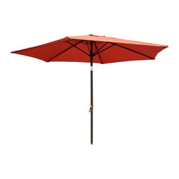 International Caravan - Patio Umbrella w Aluminum Pole & Crank and Ti - Color: NavyWith an aluminum rust free pole and an easy to operate crank and tilt mechanism, this outdoor umbrella will be an excellent addition to your deck or patio. It is made of durable, weather resistant fabric and is available in your choice of color options. Includes a durable rust free aluminum (silver/gray finish) pole. Base not included. Pictured in Terra Cotta. 6 Steel Ribs. Crank and tilt mechanism. Polyester fabric cover. Complete weather proof protection against harsh weather and UV Light Fading. 8.2 ft. dia. x 8 ft. H