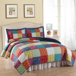 None - Halifax Cotton 3-piece Quilt Set - Introduce your bedroom to the cosy warmth of a bygone era with this traditional Halifax cotton quilt set. This multi-color, patchwork-square set is available in twin size with one pillow sham, and queen and king sizes with two shams.