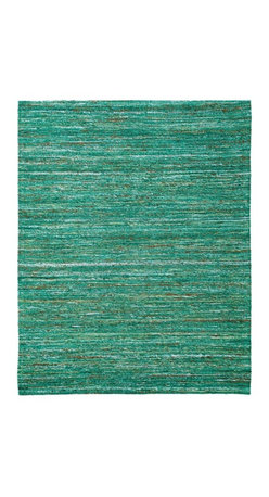 Anji Mountain - Emerald Saree Rug - 4' x 6' - Stunning color palettes and subtle gradient patterns abound in our Cosmos collection. This flat weave pile is constructed of carefully selected recycled material from vintage Indian sarees. Each rug is one of a kind and offers a unique juxtaposition of tradition, elegance and sustainability.