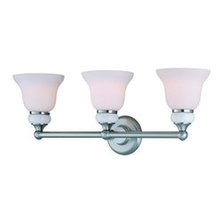 "Lite Source - Lite Source LS-16403 3 Light 7"" Wide Bathroom Fixture Princeton Collect - Wall LampThis transitional styled vanity and chandelier lamp family with white ceramic accents under frosted glass shades gives dynamic lighting to any area.60W x3 Incandescent A Type Bulbs(Bulbs NOT Included)E-27 Socket (Medium Base)Shade Dimensions: 6"""