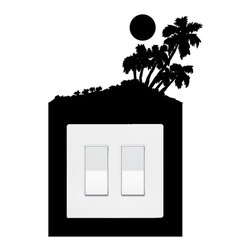 StickONmania - Lightswitch Palm Island Sticker - A cool sticker for a  lightswitch panel. Decorate your home with original vinyl decals made to order in our shop located in the USA. We only use the best equipment and materials to guarantee the everlasting quality of each vinyl sticker. Our original wall art design stickers are easy to apply on most flat surfaces, including slightly textured walls, windows, mirrors, or any smooth surface. Some wall decals may come in multiple pieces due to the size of the design, different sizes of most of our vinyl stickers are available, please message us for a quote. Interior wall decor stickers come with a MATTE finish that is easier to remove from painted surfaces but Exterior stickers for cars,  bathrooms and refrigerators come with a stickier GLOSSY finish that can also be used for exterior purposes. We DO NOT recommend using glossy finish stickers on walls. All of our Vinyl wall decals are removable but not re-positionable, simply peel and stick, no glue or chemicals needed. Our decals always come with instructions and if you order from Houzz we will always add a small thank you gift.