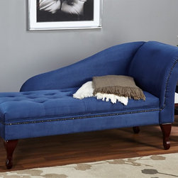 Simple Living - Simple Living Blue Storage Chaise - Add sophisticated style to your home by adding this truly lovely and elegant blue storage chaise to your decor. This chaise is constructed from hardwood and has a tufted seat with hidden storage for a blanket or your favorite books.
