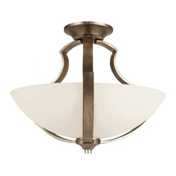 Joshua Marshal - Two Light Antique Silver Leaf White Frosted Bowl Glass Bowl Semi-Flush Mount - Two Light Antique Silver Leaf White Frosted Bowl Glass Bowl Semi-Flush Mount