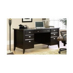 Sauder - Shoal Creek Executive Desk in Jamocha Wood Fi - Features large drawer and shelf with metal runners and safety stops. Flip-down panel for keyboard and mouse. 2 Small drawers with 2 faux fronts. Lower drawers with full extension slides hold letter or European size hanging files. Executive desk top has grommet hole for cord management. Patented T-lock drawer system. Made of engineered wood. Assembly required. 65 in. W x 29 in. D x 30 in. H