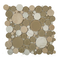 "Euro Glass - Bubble Olivine  Circles Cream/Beige Lagoon Series Glossy & Frosted Glass and Sto - Sheet size:  12"" x 12""     Tile Size:  Circles     Tiles per sheet:  120     Tile thickness:  1/4""      Grout Joints:  1/8""     Sheet Mount:  Mesh Backed     MATCHING 4"" X 12"" BORDER AVAILABLE   Sold by the sheet      -"
