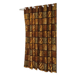 "Extra Long, EZ-ON ""Wild Encounters"" Polyester Shower Curtain - ""Ez On"" Fabric shower curtain with built in shower curtain hooks: extra long size 70"" wide x 84"" long; pattern name ""Wild Encounter"". Make your bathroom sizzle without any added frustration with our Extra Long (70'' wide x 84'' long), animal print ""Wild Encounters"" EZ-ON Shower Curtain. Using patented Hookless technology, our EZ-ON curtains come with built in flat top rings that simply snap on to your existing shower curtain rod--pesky hooks no longer required. Additionally, this 100% polyester curtain resists water and is machine washable. ""Wild Encounters"" is available in standard, extra wide, and shower stall sizes.   Machine wash in warm water, tumble dry, low, light iron as needed"