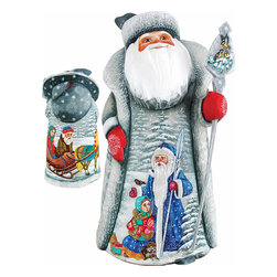 """Artistic Wood Carved Time With Santa Claus Sculpture - Measures 11""""H x 5""""L x 4.75""""W and weighs 4 lbs. G. DeBrekht fine art traditional, vintage style sculpted figures are delightful and imaginative. Each figurine is artistically hand painted with detailed scenes including classic Christmas art, winter wonderlands and the true meaning of Christmas, nativity art. In the spirit of giving G. DeBrekht holiday decor makes beautiful collectible Christmas and holiday gifts to share with loved ones. Every G. DeBrekht holiday decoration is an original work of art sure to be cherished as a family tradition and treasured by future generations. Some items may have slight variations of the decoration on the decor due to the hand painted nature of the product. Decorating your home for Christmas is a special time for families. With G. DeBrekht holiday home decor and decorations you can choose your style and create a true holiday gallery of art for your family to enjoy. All Masterpiece and Signature Masterpiece woodcarvings are individually hand numbered. The old world classic art details on the freehand painted sculptures include animals, nature, winter scenes, Santa Claus, nativity and more inspired by an old Russian art technique using painting mediums of watercolor, acrylic and oil combinations in the G. Debrekht unique painting style. Linden wood, which is light in color is used to carve these masterpieces. The wood varies slightly in color."""