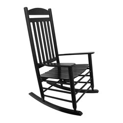 Things2Die4 - Black High Back Slat Adult Rocking Chair - What is better than relaxing on your porch or patio in a rocking chair, enjoying the sunset, or keeping an eye on the kids, or watching the dog chase squirrels? Not much, except maybe having a friend by your side to have a conversation with. This hardwood slat rocker measures 47 1/2 inches tall, 33 1/2 inches long, and 26 inches wide. The seat measures 20 inches X 19 inches, and the back is 34 1/2 inches high. It adds a wonderful accent to your porch or patio and is great inside the home, too. NOTE: Assembly required.